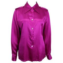 Gucci by Tom Ford Pink Satin Silk Shirt