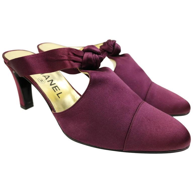 Chanel Purple Satin Shoes For Sale