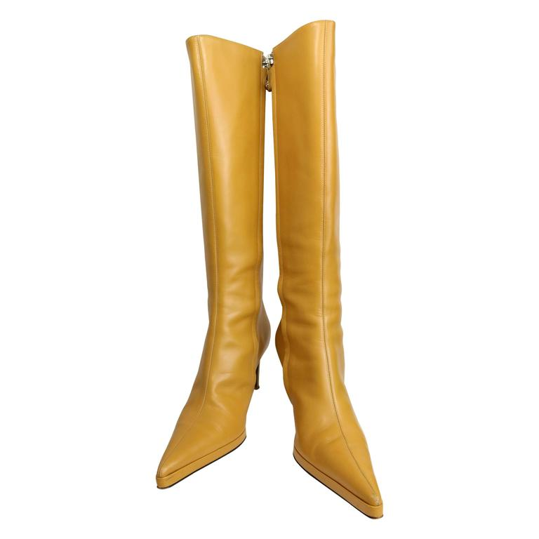 Gianni Versace Camel Leather Long Boots