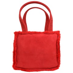 Vintage 90s Chanel Red Suede with Fur Trim Handbag