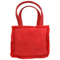 Vintage 90s Chanel Red Suede with Fur Trim Handbag