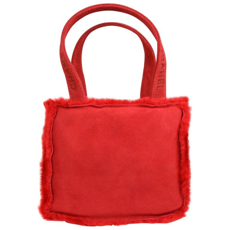 Vintage 90s Chanel Red Suede with Fur Trim Handbag For Sale