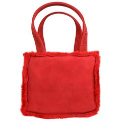 Chanel Red Suede with Feather Trim Handbag