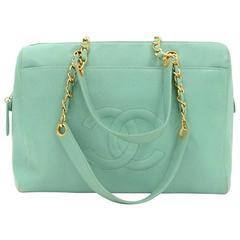 Chanel Green Caviar Leather Large Shoulder Bag
