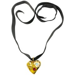 90s Christian Lacroix Yellow Heart Shaped Gold Toned Black Velvet Strap Necklace