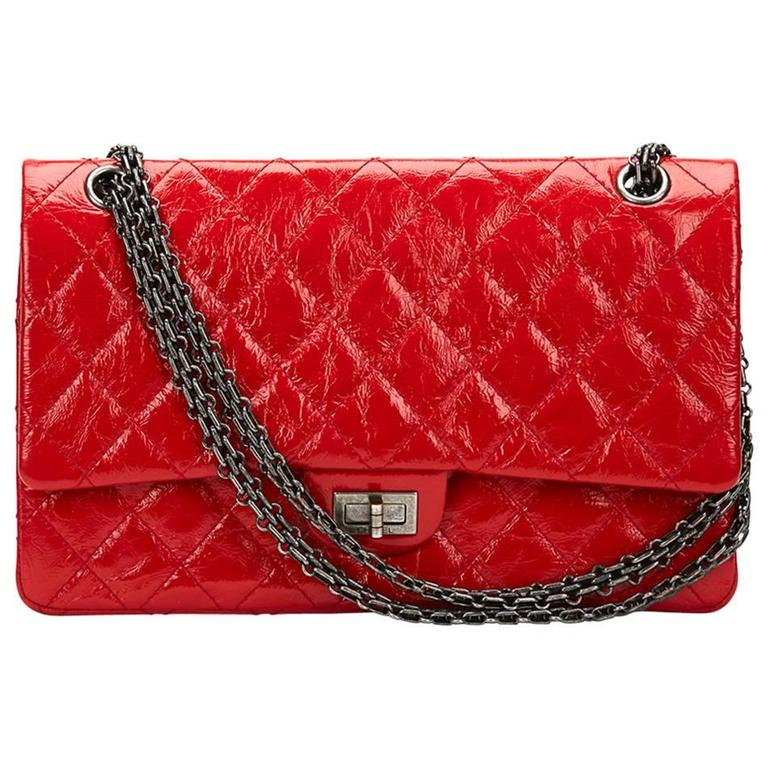 e5b858e00379 2015 Chanel Red Aged Patent Leather 2.55 Reissue 226 Double Flap Bag For  Sale.