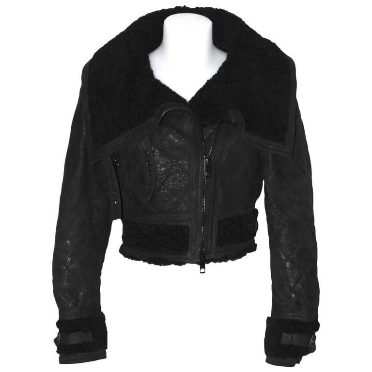 BURBERRY PRORSUM All Black Cropped Aviator Jacket