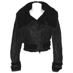 BURBERRY PRORSUM All Black Cropped Aviator Jacket