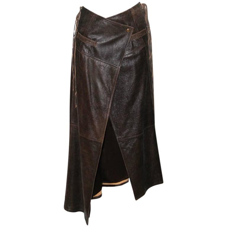 christian vintage brown leather wrap skirt at