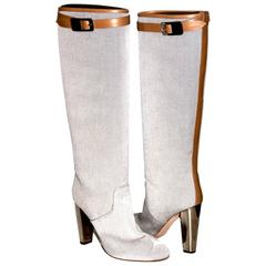 Hermès Boots Canvas Natural Leather Trim Silver Heel - Made in Italy - New