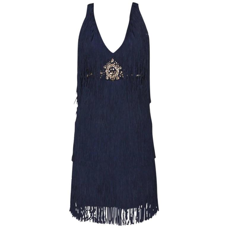 Lanvin Dark Blue Fringe Mini Dress - Charleston Style - FR 38 1