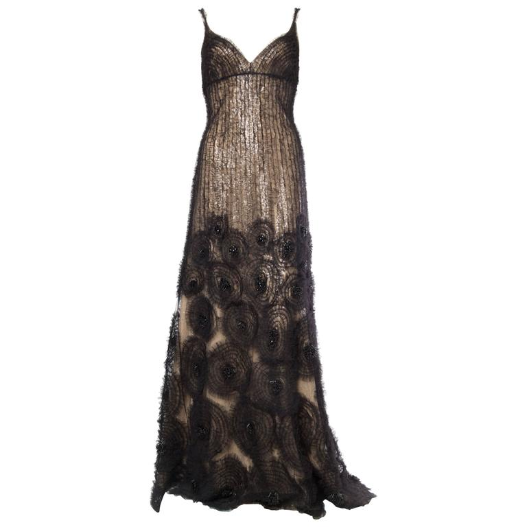 Sheer Illusion Naeem Khan Beaded Tulle Gown with Train