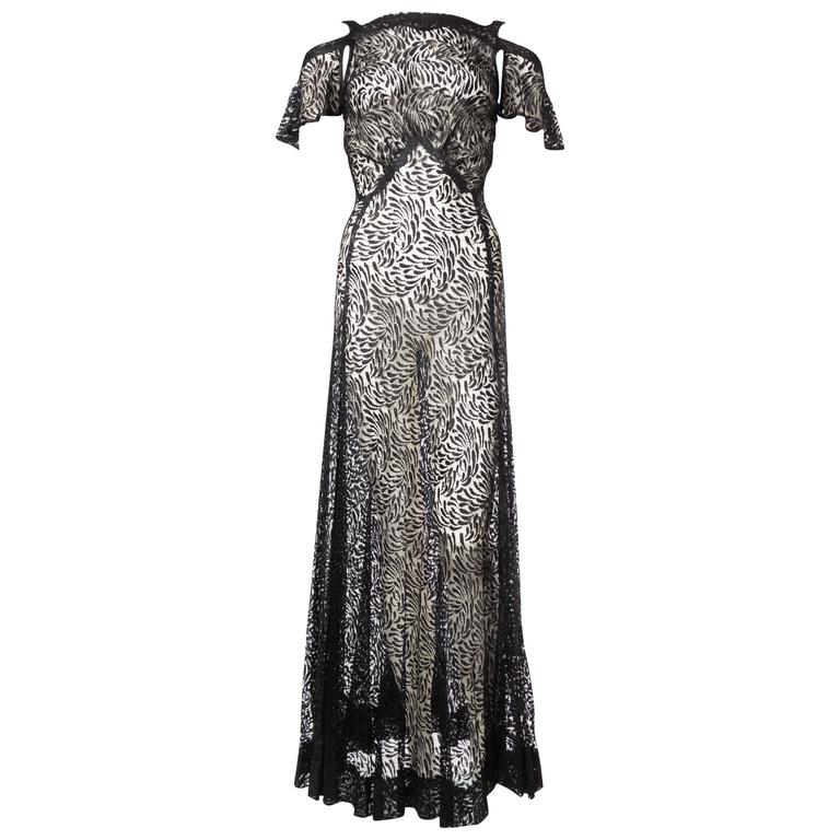 1930s Bias Silk Chantilly Lace Gown