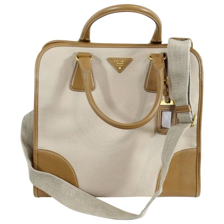 Prada Safiano and Canvas Top Handle Bag with strap