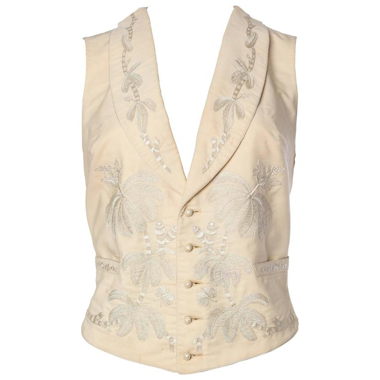 Victorian Gilet With Hand Embroidered Palms