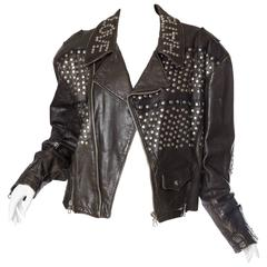 Iconic Jean Paul Gaultier Love Hate Studded Leather Jacket