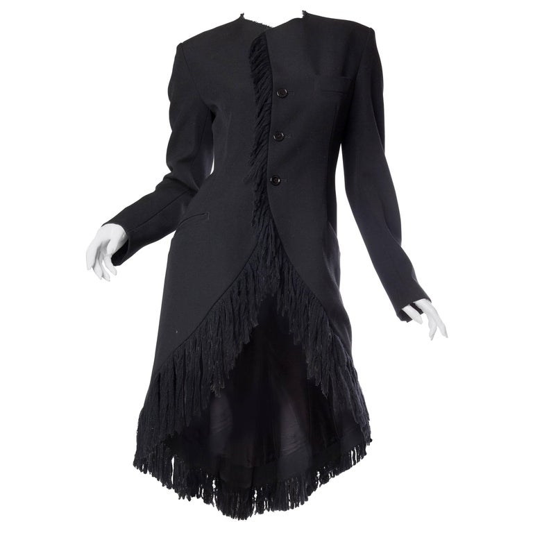 1980S YOHJI YAMAMOTO Black Wool Twill High-Low Tail Coat With Fringe For Sale