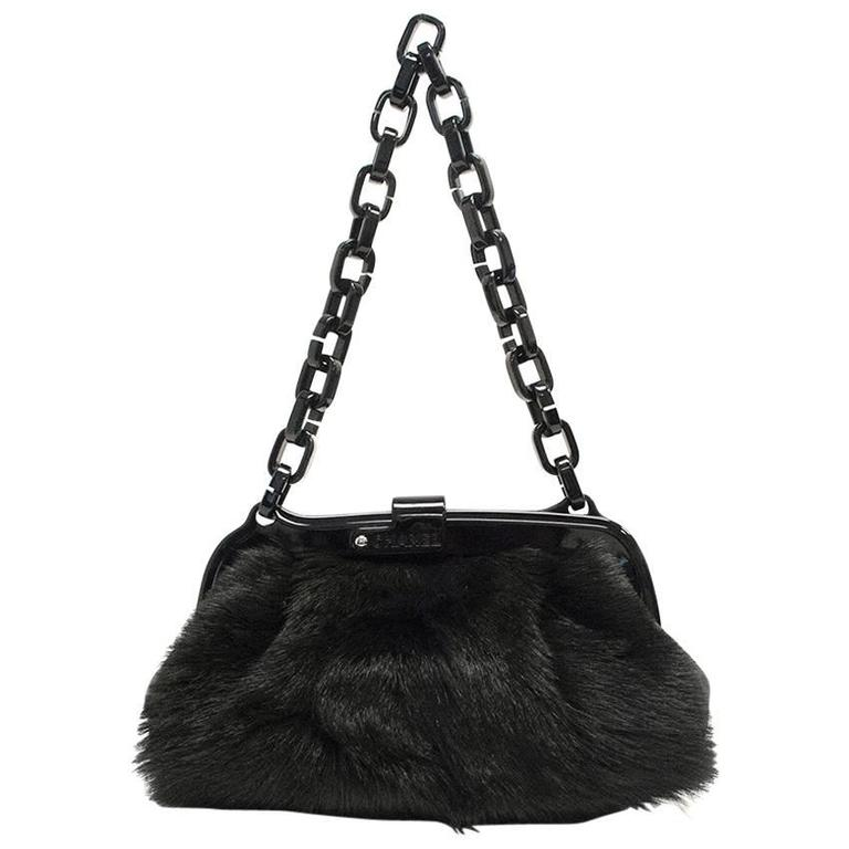 Chanel Black Fur Bag With Plastic Chain For