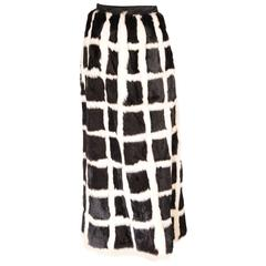 Miss Bergdorf Fur Boutique Black and White Mink Skirt