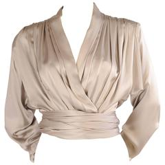 Yves Saint Laurent Haute Couture Smoke Grey Silk Charmeuse Wrap Blouse