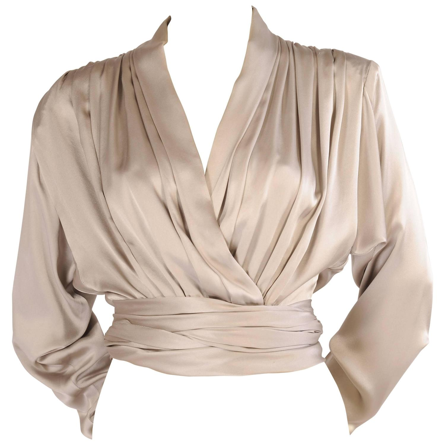 739301f68aa5c1 Yves Saint Laurent Haute Couture Smoke Grey Silk Charmeuse Wrap Blouse For  Sale at 1stdibs
