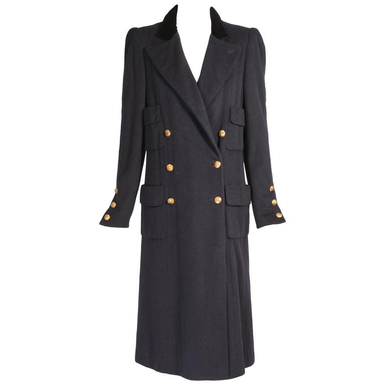 Chanel Haute Couture Mink Lined Navy Blue Coat For Sale