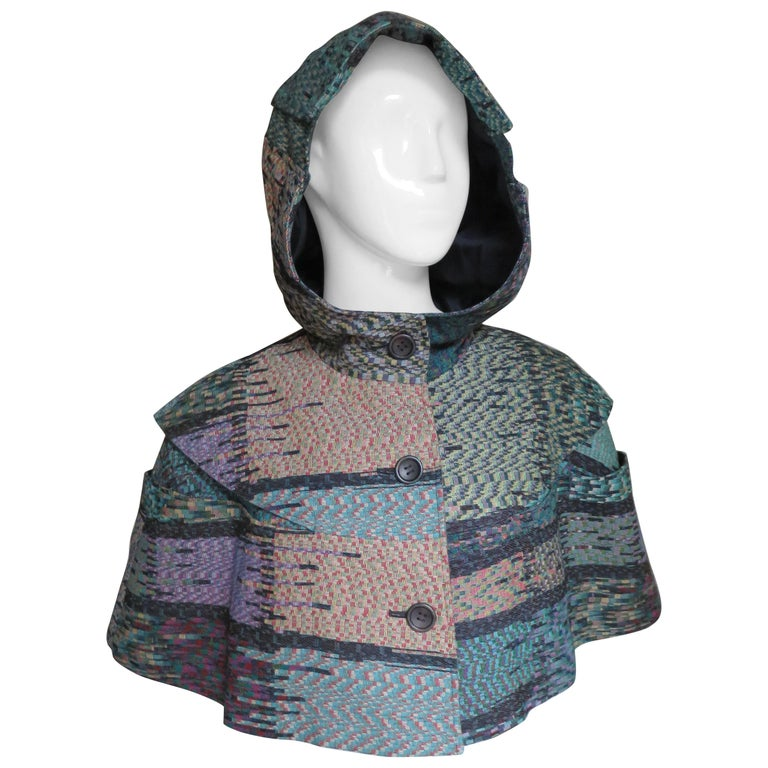 2008 Issey Miyake Jacquard Hooded Capelet