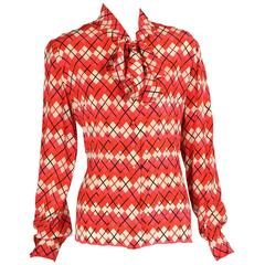 Chanel Numbered Haute Couture Colorful Patterned Silk Blouse, Larger Size