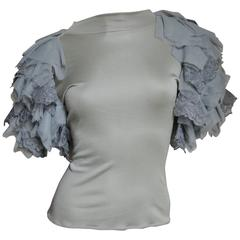 1999 Alexander McQueen Net Sleeve Silk Top