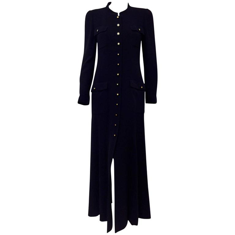 Chanel Fall 1996 Dark Navy Wool Crepe Long Coat Dress W Flap Patch Pockets