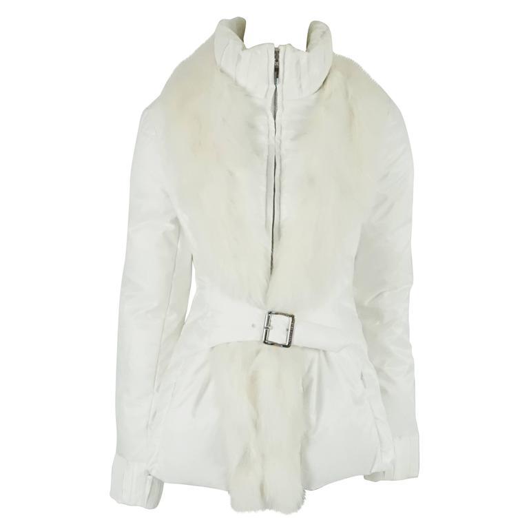 Roberto Cavalli White Puffer Jacket with Fox Fur Trim - 44