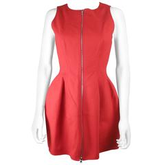 Alaia Iconic Zip Up Dress - US 6 / 8 - 40 - Red Cotton - $3900+
