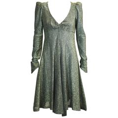Biba, London Gold Metallic Baby Doll Dress
