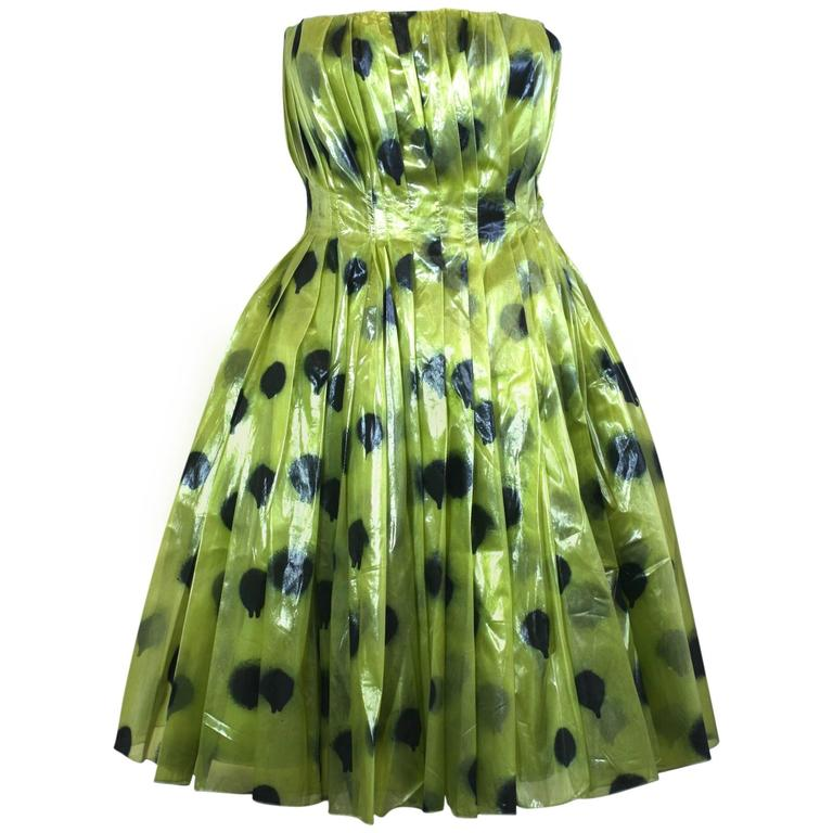 "Moschino Lacquered Organza ""Paint Ball"" Party Dress"