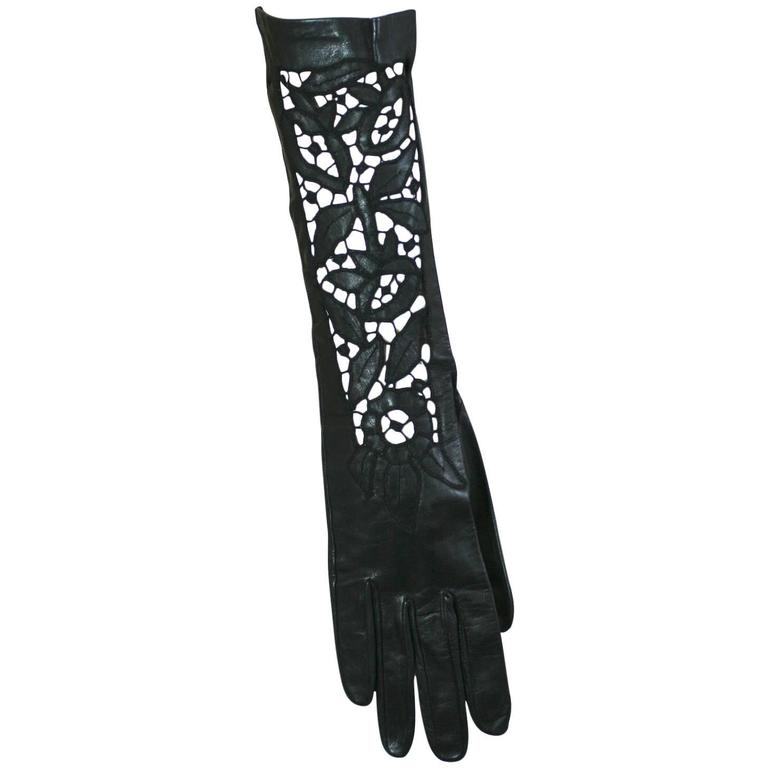 Elegant Cutwork Black Leather Gloves
