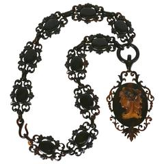 Amazing Victorian Tortoise Cameo Necklace