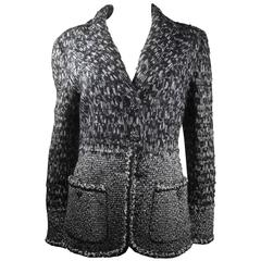 Chanel Jacket - 10 12 44 - Gripoix Glass Buttons CC Logo Black White Gray Tweed