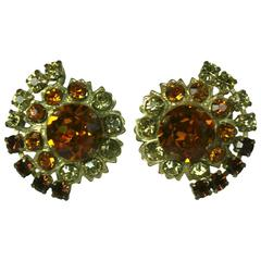 Countess Cis Citrine Paste Earclips