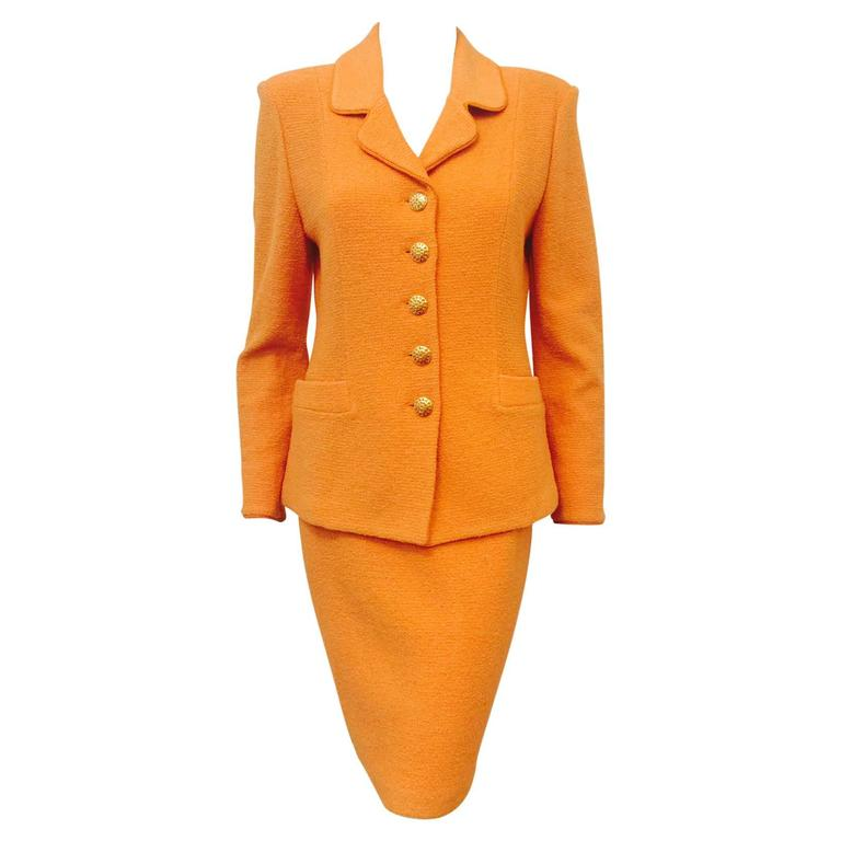 St. John Collection Orange Wool Blend Knit Skirt Suit With Enamel Buttons  For Sale