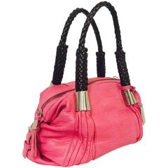 New Calamassi Pink Textured Leather Tote W Raisin Woven Leather Handles
