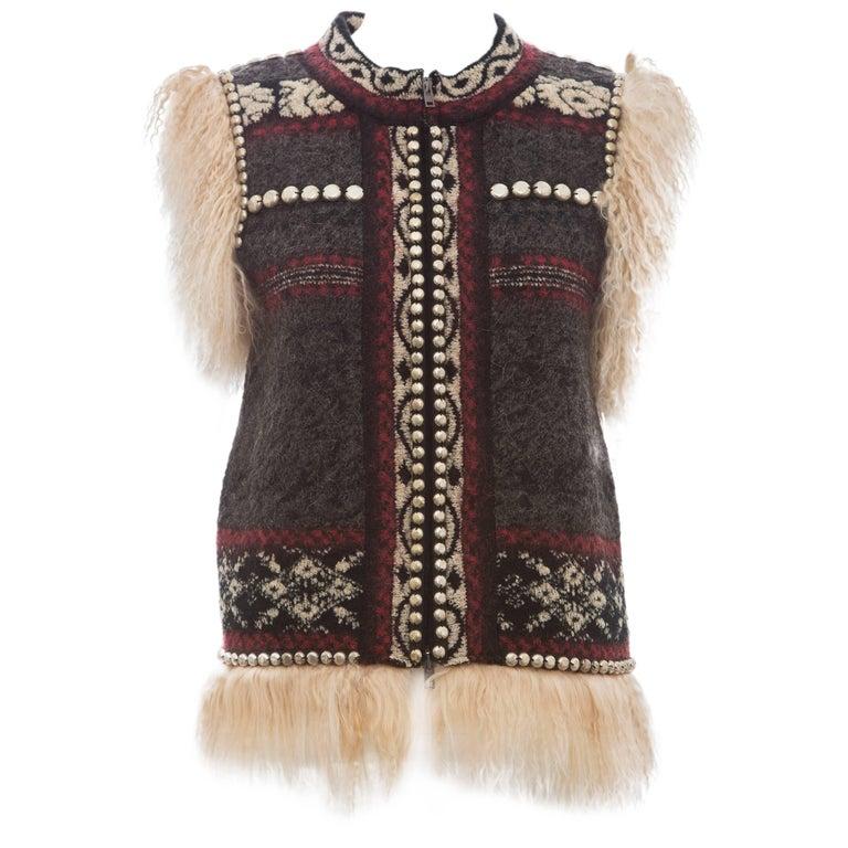 Jean Paul Gaultier Wool Vest With Mongolian Fur Trim, Fall 2010 For Sale
