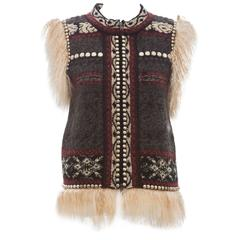 Jean Paul Gaultier Wool Vest With Mongolian Fur Trim, Autumn - Winter 2010