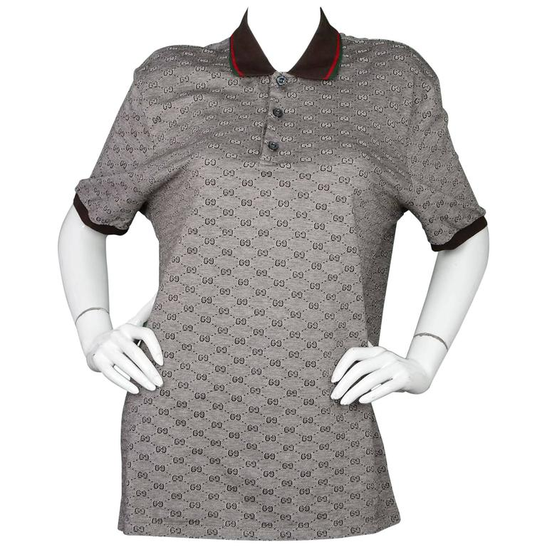 42e12193c394 Gucci Men's Brown Monogram Polo Shirt with Web Collar Sz XXXL For Sale