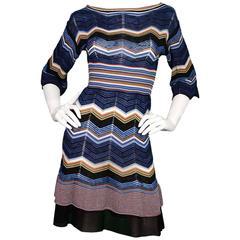 Missoni Blue & Orange ZigZag Knit Dress sz 4