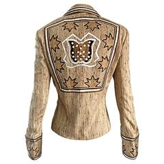 Christian Dior By John Galliano Tan Butterfly Embroidered Sequin Blazer Jacket