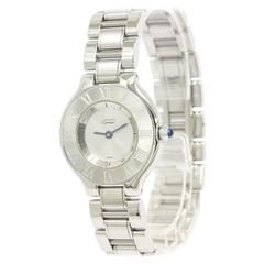 Cartier Must de Cartier 21 Stainless Steel Chain Link Mid Size Watch in Box