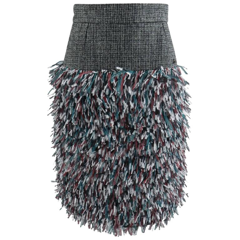 Chanel 13A Edinburg Grey Wool and Ostrich Feather Runway Skirt For Sale