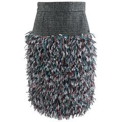Chanel 13A Edinburg Grey Wool and Ostrich Feather Runway Skirt