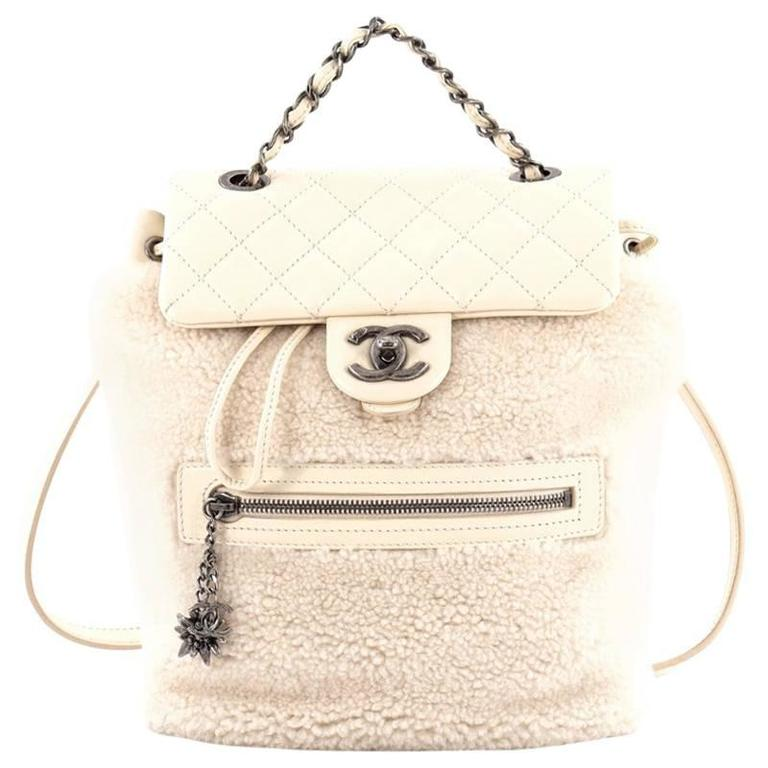 Chanel Mountain Backpack Shearling with Quilted Calfskin Small 1