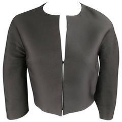 GIAMBATTISTA VALLI Size 4 Black Silk Blend 3/4 Sleeve Croped Jacket